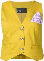 N Duo - patch waistcoat - women - Linen/Flax - 36