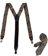 EFDB0048 Red Black Paisley Suspenders Microfiber Inspire For Husband Braces Skinny Tie Set By Epoint