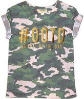River Island Mini girls green camo '#ootd' T-shirt