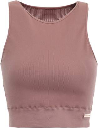 Pepper & Mayne Saskia Cropped Ribbed Stretch-jersey Top