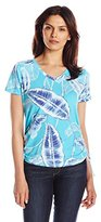 Caribbean Joe Women's Multi Color Printed Short-Sleeve V-Neck Ruched T-Shirt