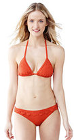 Lands' End Women's SwimMates Ruffle String Bikini Top-Deep Sea Mini Tossed Floral