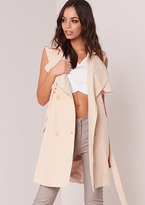 Missy Empire Yolanda Beige Sleeveless Trench Coat