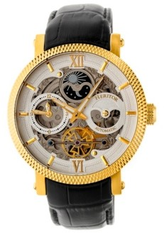 Heritor Automatic Aries Gold & Silver & Black Leather Watches 43mm
