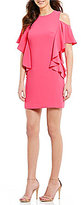 Trina Turk Lambada Cascading Cold Shoulder Shift Dress