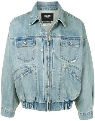 Five Cm Zip-Up Denim Jacket