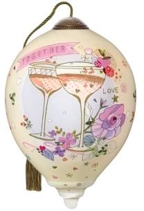 Ne'qwa The NeQwa Art Together Love hand-painted blown glass wedding or anniversary ornament
