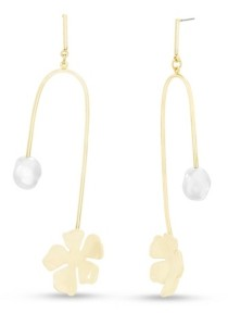 Steve Madden Women's Simulated Pearl Abstract Flower Gold-Tone Drop Post Earrings