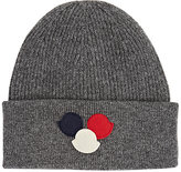 Moncler Men's Appliquéd Rib-Knit Virgin Wool Beanie-GREY