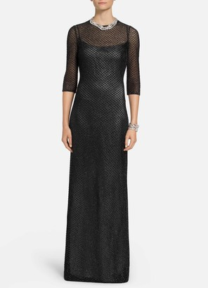 St. John Metallic Diamond Lace Knit Gown
