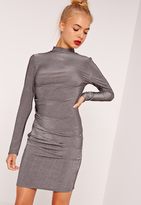 Missguided Long Sleeve Bodycon Dress Silver