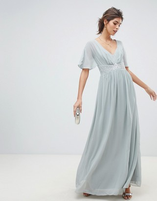 Little Mistress waterlily chiffon angel sleeve maxi dress
