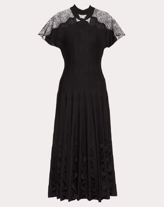Valentino Stretch Viscose And Chantilly Lace Dress Women Black Virgin Wool 100% M