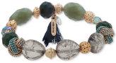 lonna & lilly Gold-Tone Multi-Bead & Tassel Stretch Bracelet