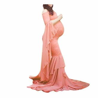 Xxysm Clothing XXYsm Elegant Photography Maternity Wrap Dress Women Pregnant Dress Floral Lace Off Shoulder Ruffle Sleeve Maxi Trailing Long Dress for Photo Shoot Wedding Evening Party Gown Uniform Code (Pink)