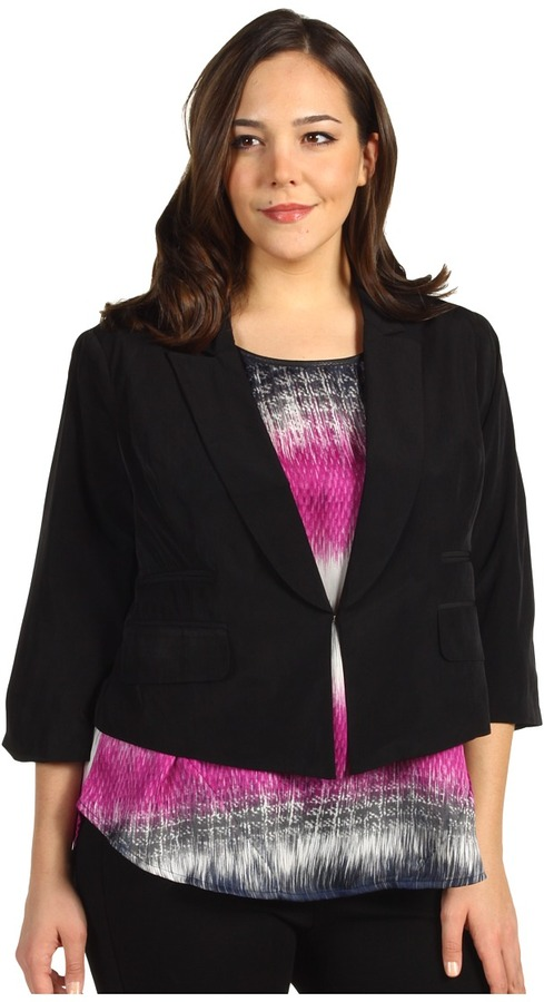 Kenneth Cole New York - Plus Size Relaxed Fit Jacket (Black) - Apparel