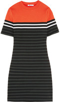 Alexander Wang Striped Stretch-cotton Ponte Mini Dress - Orange