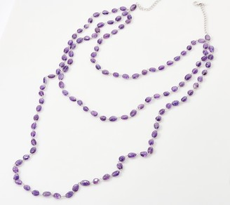 Triple Strand Gemstone Bead Necklace Sterling Silver
