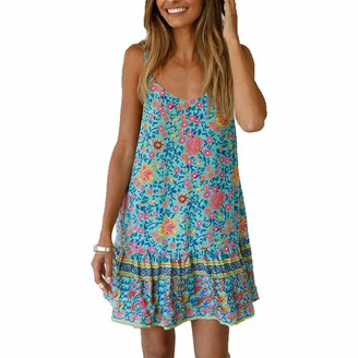 Biofieay Women Spaghetti Strap Dress Casual Mini Sleeveless Sexy Floral Print Ruffle Boho Beach Sundress