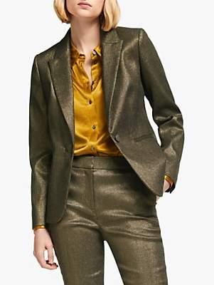 Boden Belgravia Blazer Jacket, Gold Metallic