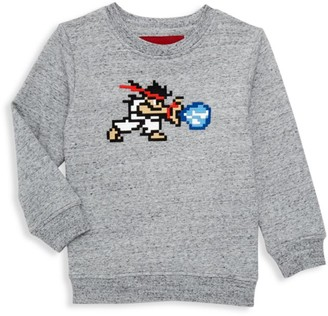 Mostly Heard Rarely Seen 8 Bit Little Boy's & Boy's Specked Warrior Embroidery Sweatshirt
