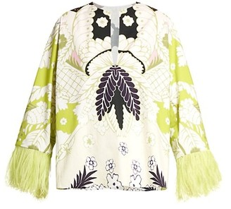 Valentino Tapestry Feather-Trimmed Cotton Blouse