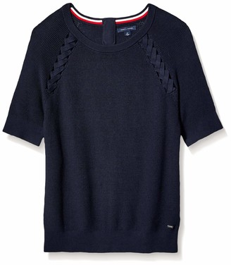 Tommy Hilfiger Women's Adaptive Short Sleeve Sweater with Velcro Brand Closure