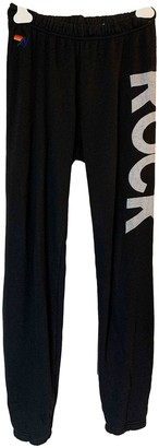 Aviator Nation Black Cotton Trousers for Women