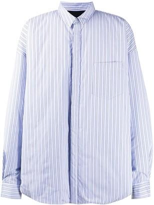 Juun.J Striped Patch Pocket Shirt Jacket