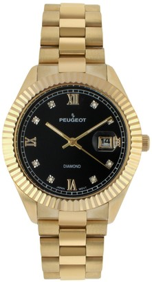Peugeot Men's 14K Plated Stainless Diamond Bracelet Watch