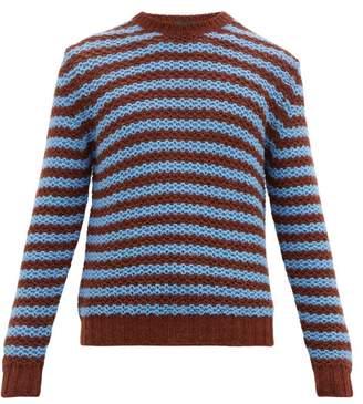 Prada Striped Alpaca Sweater - Mens - Brown