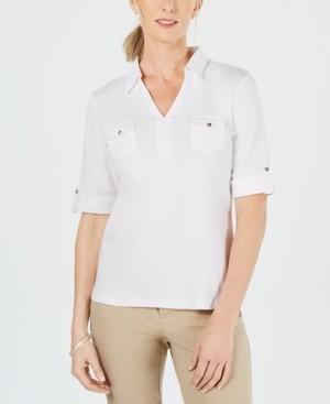 Karen Scott Petite Cotton Collared Top, Created for Macy's