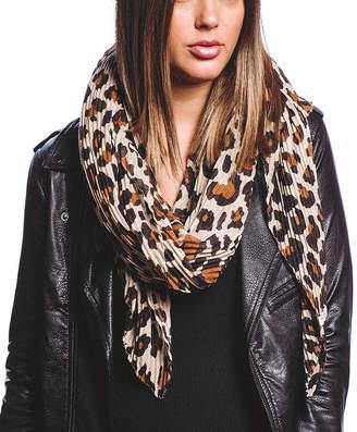 Barrington Women's Accent Scarves GOLD - Gold & Beige Leopard Print Pleated Scarf - Women