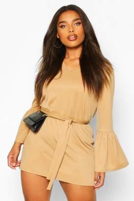 boohoo Plus Ruffle Sleeve Tie Waist Shift Dress