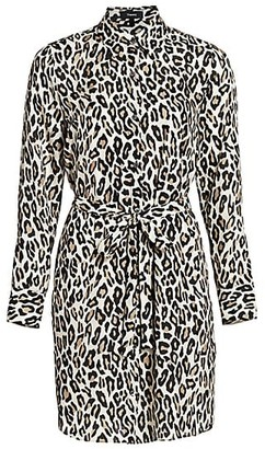 Theory Leopard Print Silk Shirtdress