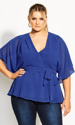 City Chic Elegant Wrap Top - blue