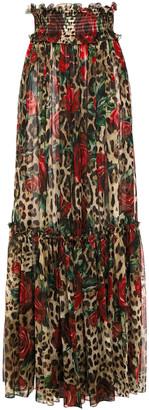 Dolce & Gabbana Ruffle-trimmed Printed Silk-chiffon Wide-leg Pants