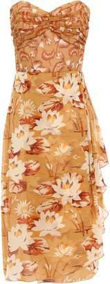Anna Sui Strapless Draped Printed Silk-georgette Dress