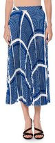 MSGM Geometric Plissé Midi Skirt, Blue