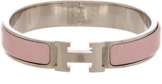 Hermes Palladium-Plated & Pink Enamel Clic-Clac H Bracelet