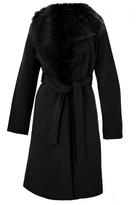 Quiz Black Fur Collar Tie Belt Coat