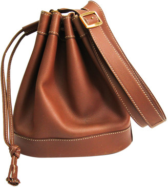 Hermes Brown Leather Market Courchevel Shoulder Bag