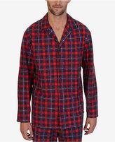 Nautica Men's Red Plaid Lightweight Sueded Fleece Sleep Shirt