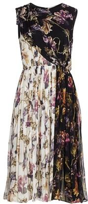 Jason Wu Collection Floral Crinkle Silk Chiffon Midi Dress