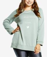 Soffe Curves Plus Size Split-Hem Graphic Sweatshirt, a Macy's Exclusive Style