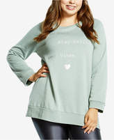 Soffe Curves Plus Size Split-Hem Graphic Sweatshirt, Created for Macy's