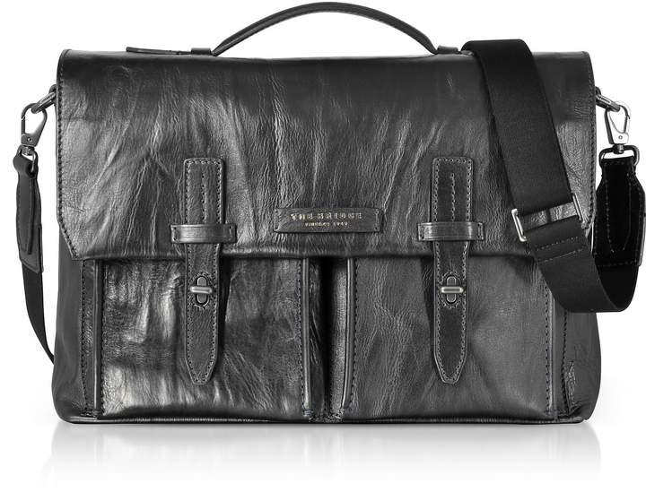 The Bridge Washed Calf Leather Briefcase W/shoulder Strap