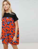 Daisy Street Smock Dress With Contrast Floral Skirt