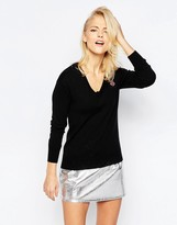 Love Moschino Embroidered Mini Logo V Neck Sweater