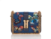 Valentino B Rockstud Denim Embroidered Butterfly Bag